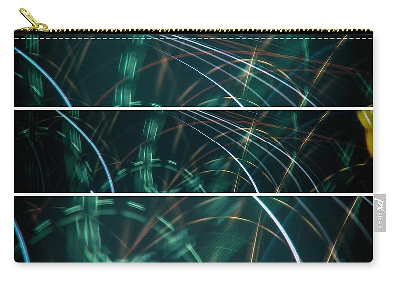 Symmetrical Carry-all Pouch featuring the photograph Green Film Grain Lightpainting Abstract by John Williams