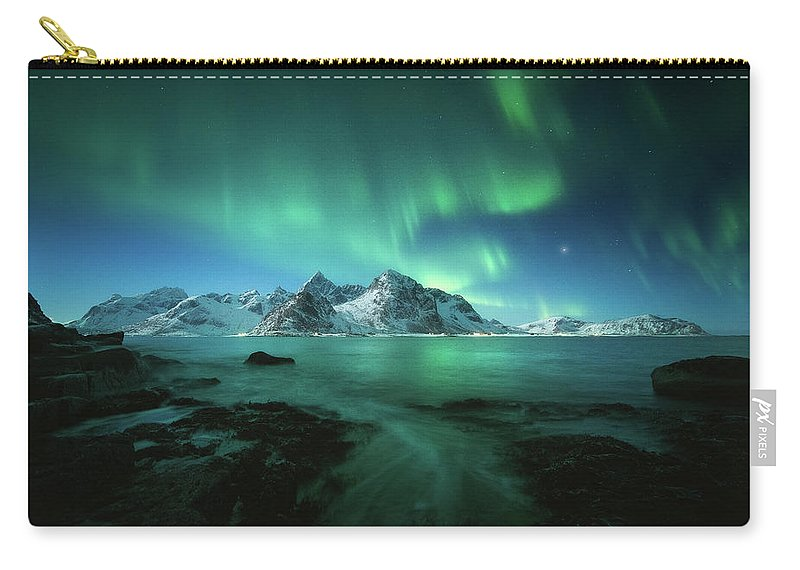 Landscape Carry-all Pouch featuring the photograph Lights Above Lofoten by Tor-Ivar Naess