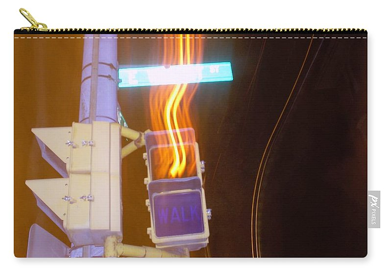 Photograph Carry-all Pouch featuring the photograph Lights That Eat Do Not Walk Signals by Thomas Valentine