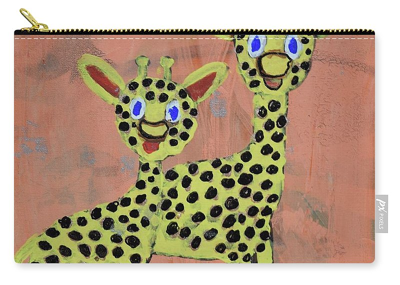 Giraffes Carry-all Pouch featuring the painting Lil Giraffes by Aj Watson
