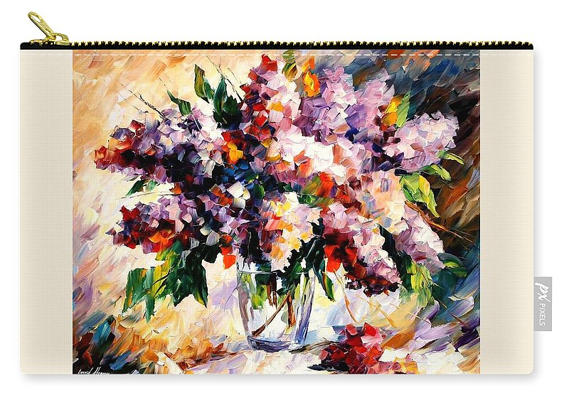 Afremov Carry-all Pouch featuring the painting Lilac - Morning Mood by Leonid Afremov