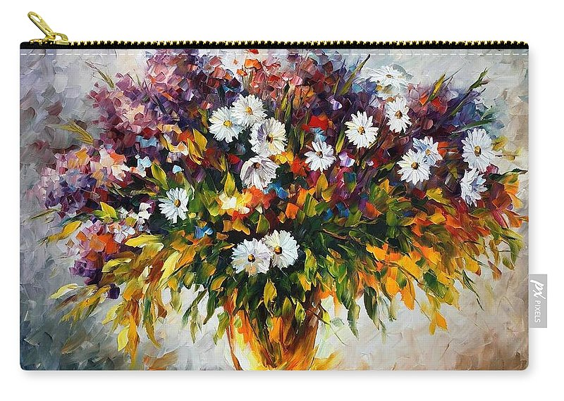 Afremov Carry-all Pouch featuring the painting Lilac And Camomiles by Leonid Afremov