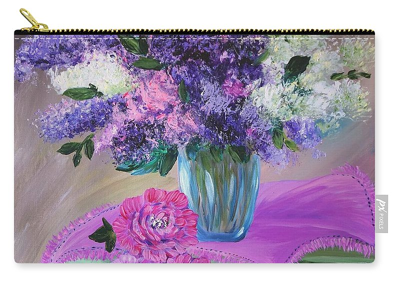 Acrylic Carry-all Pouch featuring the painting Lilacs 2 by Tzvetanka Apostolova