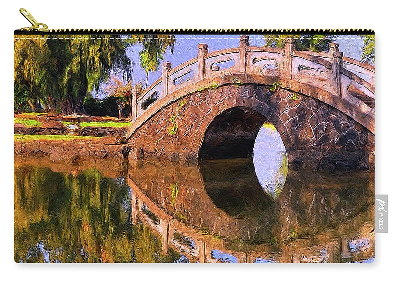 Hawaii Carry-all Pouch featuring the painting Liliuokalani Gardens by Dominic Piperata
