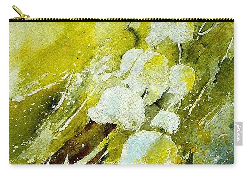Flowers Carry-all Pouch featuring the painting Lilly of the valley by Pol Ledent