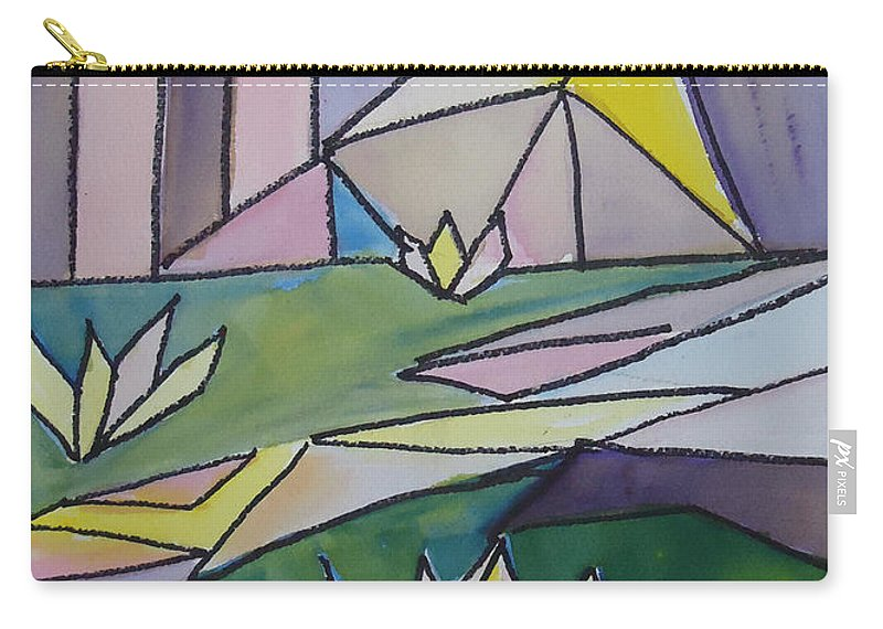 Lilly Are Shaped In Abstract Form. Abstract Carry-all Pouch featuring the mixed media Lilly Pond by Charme Curtin