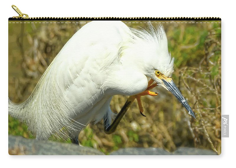 Snowy Egret Carry-all Pouch featuring the photograph Lillywhite by Dennis Bolton