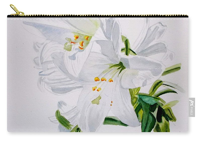 Lily. Flower Carry-all Pouch featuring the painting Lily 2 by Nicole Curreri
