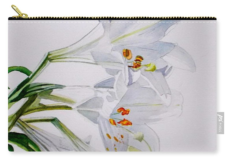 Lily. Flower Carry-all Pouch featuring the painting Lily by Nicole Curreri