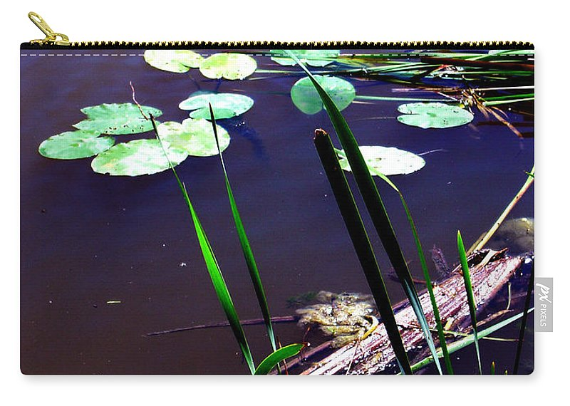 Reeds And Lily Pads Carry-all Pouch featuring the photograph Lily Pads And Reeds by Joanne Smoley