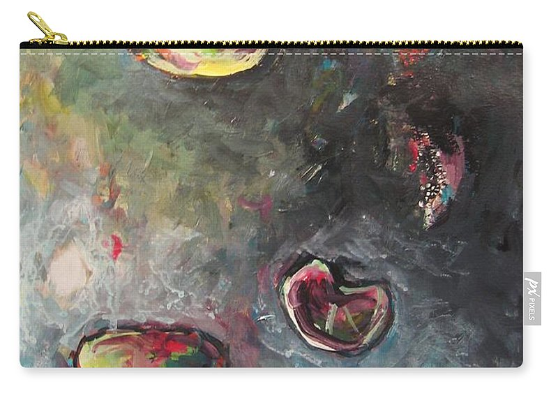Abstract Painting Lily Pad Water Lake Blue Plant Paper Original Contemporary Canvas Carry-all Pouch featuring the painting Lily Pads5 by Seon-Jeong Kim