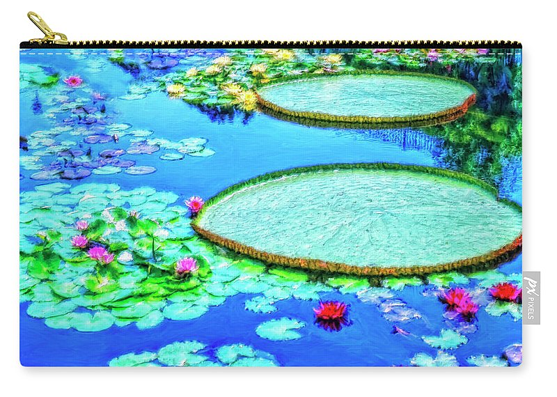Lily Pond Carry-all Pouch featuring the painting Lily Pond 2 by Dominic Piperata