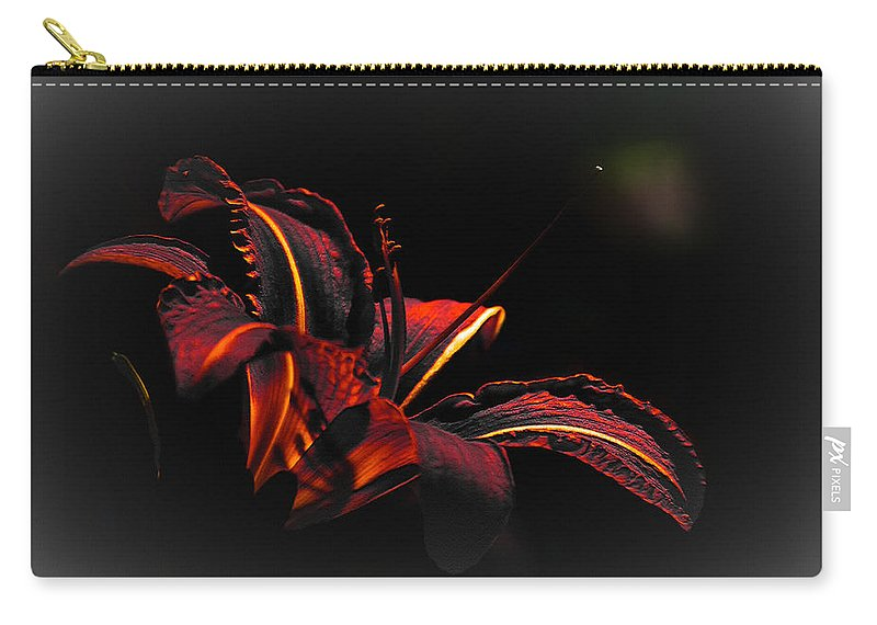 Elegance Carry-all Pouch featuring the digital art Lily Red-black by Max Steinwald