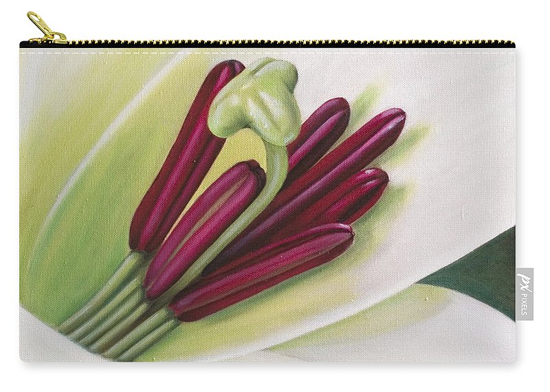 Flower Carry-all Pouch featuring the painting Lily by Rob De Vries