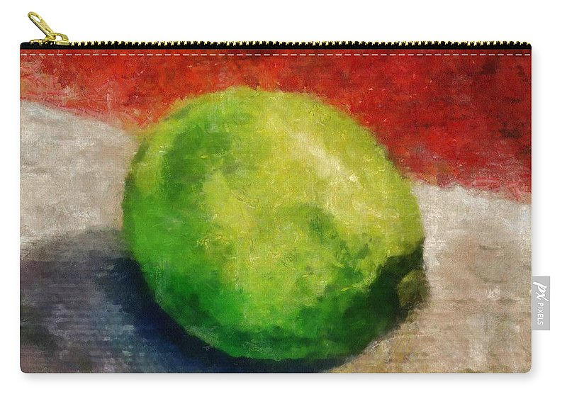 Lime Carry-all Pouch featuring the painting Lime Still Life by Michelle Calkins