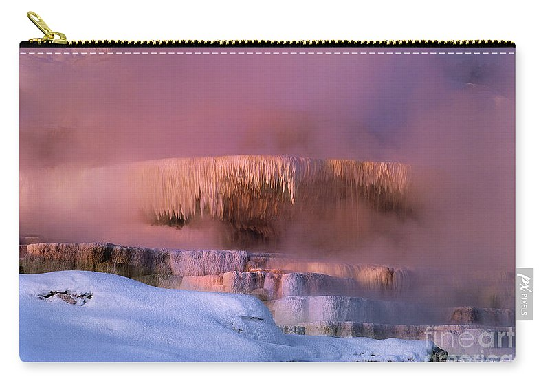 North America Carry-all Pouch featuring the photograph Limestone Artwork Minerva Springs Yellowstone National Park by Dave Welling