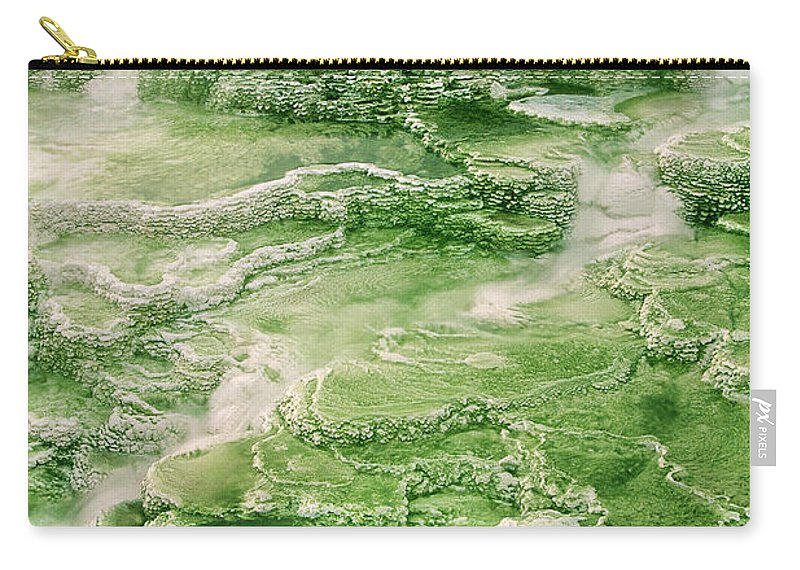 North America Carry-all Pouch featuring the photograph Limestone Detail Minerva Springs Yellowstone National Park by Dave Welling