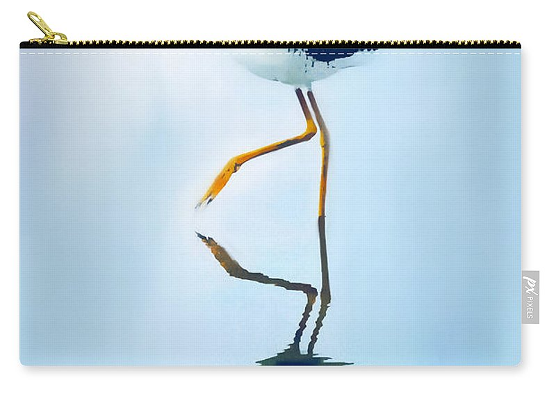 Lesser Yellow Legs Bird Carry-all Pouch featuring the painting Lesser Yellow Legs Water Shadow by Barbara Chichester
