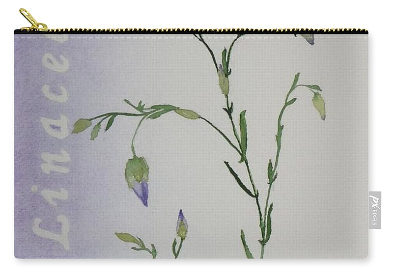 Flower Carry-all Pouch featuring the painting Linacea by Ruth Kamenev