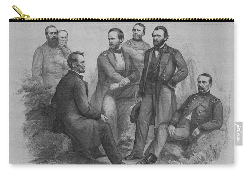 Civil War Carry-all Pouch featuring the drawing Lincoln And His Generals by War Is Hell Store