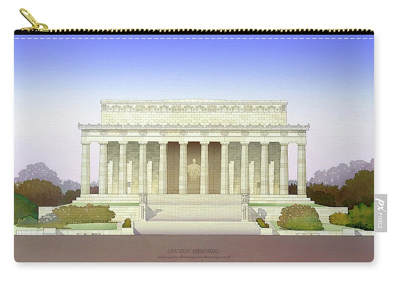 Lincoln Memorial Carry-all Pouch featuring the painting Lincoln Memorial by Nicolas Charbonneau and Dariush Vasiri