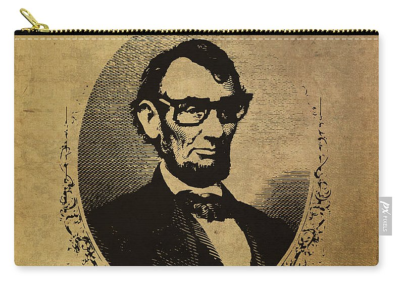 Lincoln Carry-all Pouch featuring the mixed media Lincoln Nerd That Is So Fourscore And Seven Years Ago Color by Design Turnpike