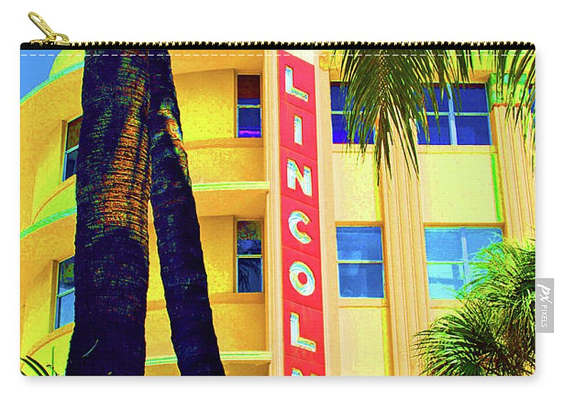 Lincoln Road Carry-all Pouch featuring the photograph Lincoln Theatre - Sobe by Jost Houk