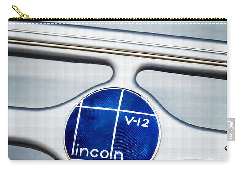 Lincoln V12 Carry-all Pouch featuring the photograph Lincoln V12 Emblem by Jill Reger