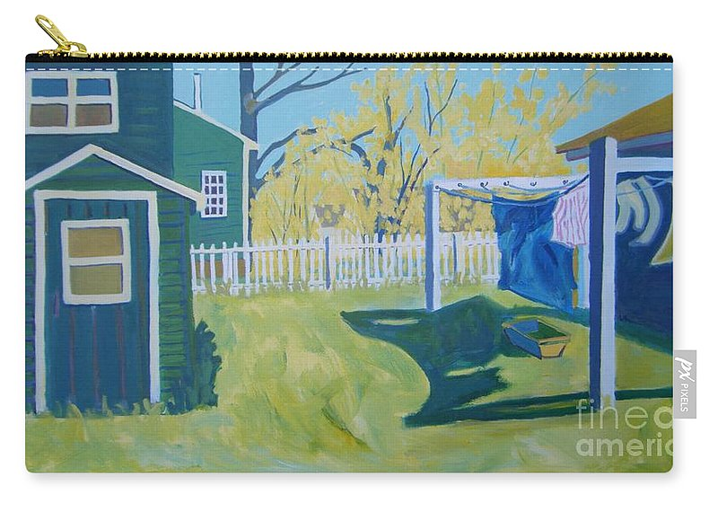 Backyard Carry-all Pouch featuring the painting Line Of Wash by Debra Bretton Robinson
