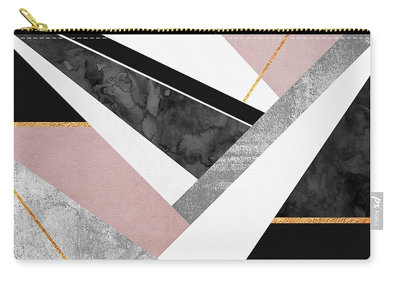 Digital Carry-all Pouch featuring the digital art Lines and Layers by Elisabeth Fredriksson