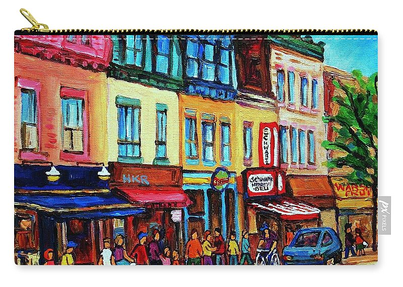 Cityscape Carry-all Pouch featuring the painting Lineup For Smoked Meat Sandwiches by Carole Spandau