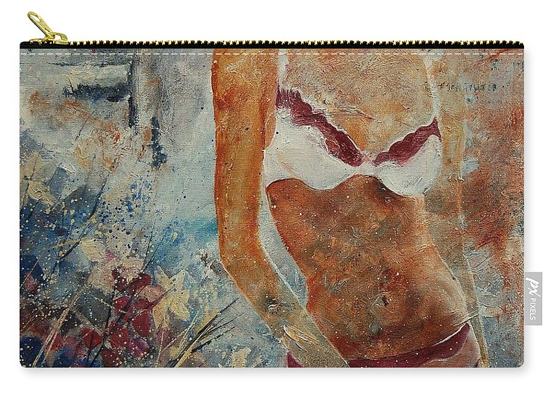 Girl Carry-all Pouch featuring the painting Lingerie 57 by Pol Ledent