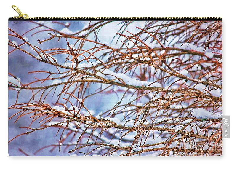 Winter Carry-all Pouch featuring the photograph Lingering Winter Snow by Sharon McConnell