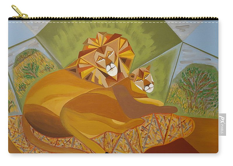 Painting Carry-all Pouch featuring the painting Lion And Lioness by Ron Snyder