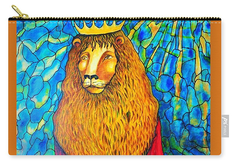 Original Art Carry-all Pouch featuring the painting Lion-king by Rae Chichilnitsky