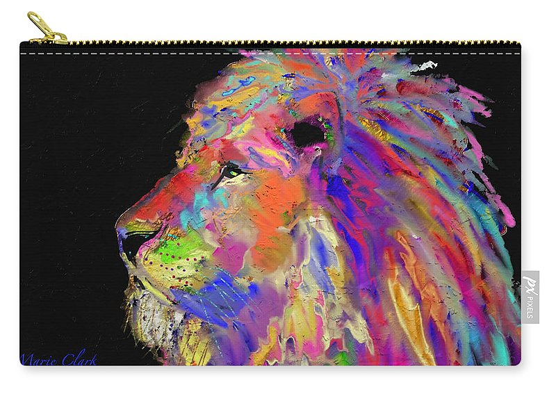 Lion Carry-all Pouch featuring the painting Lion by Marie Clark