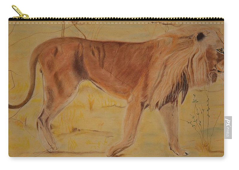 Lion Carry-all Pouch featuring the pastel Lion On The Plain by Peter Graore