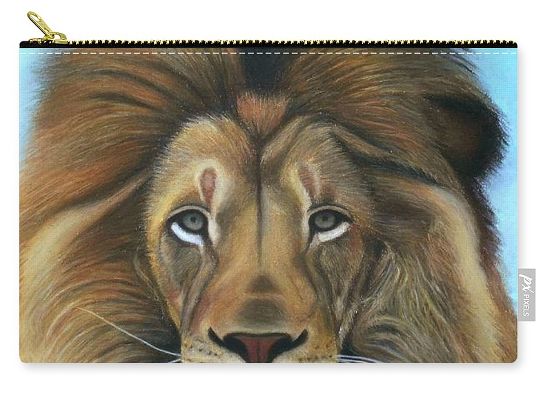 Lion Carry-all Pouch featuring the pastel Lion - The Majesty by Vishvesh Tadsare