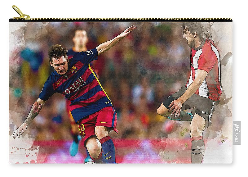 Home Art & Collectibles Carry-all Pouch featuring the digital art Lionel Messi Fights For The Ball by Don Kuing