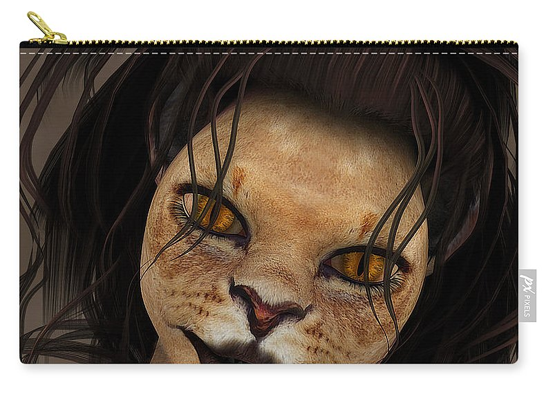 3d Carry-all Pouch featuring the digital art Lioness by Jutta Maria Pusl