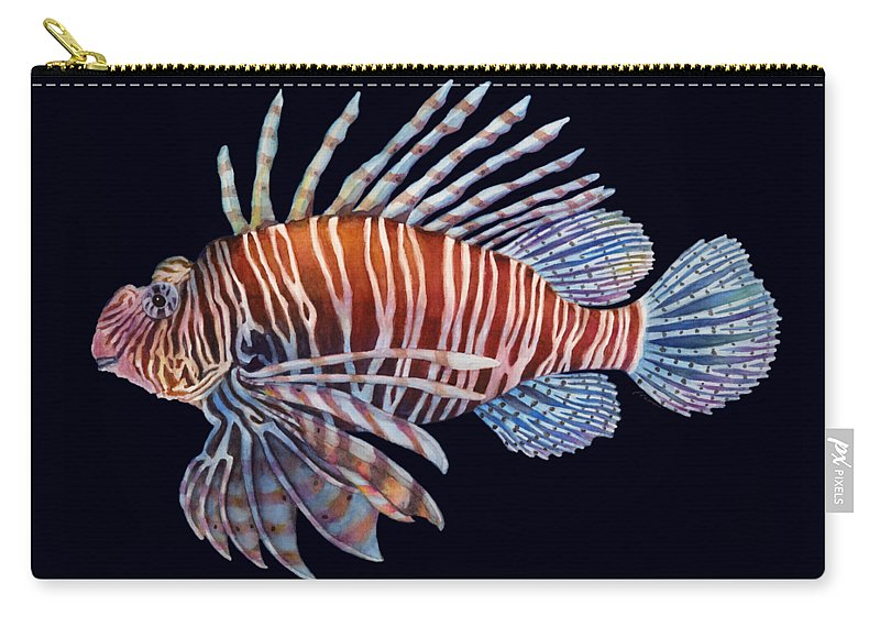 Lionfish Carry-all Pouch featuring the painting Lionfish In Black by Hailey E Herrera