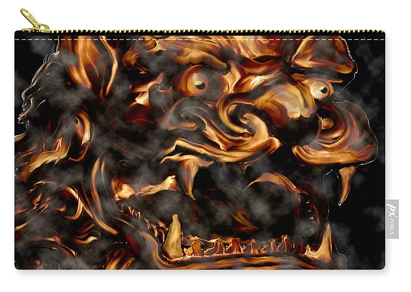 Leo Lion Goth Gothic Wild Emotion Feelings Animal Cloud Fierce Carry-all Pouch featuring the digital art Lions Roar by Andrea Lawrence