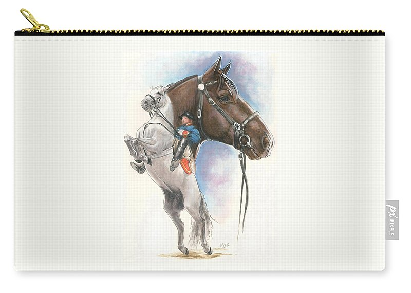 Spanish Riding School Carry-all Pouch featuring the mixed media Lippizaner by Barbara Keith
