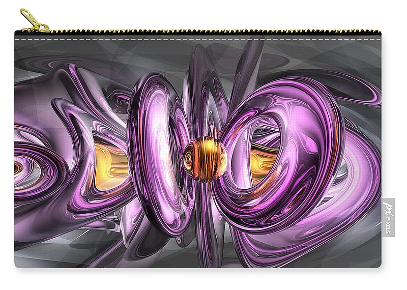 3d Carry-all Pouch featuring the digital art Liquid Amethyst Abstract by Alexander Butler