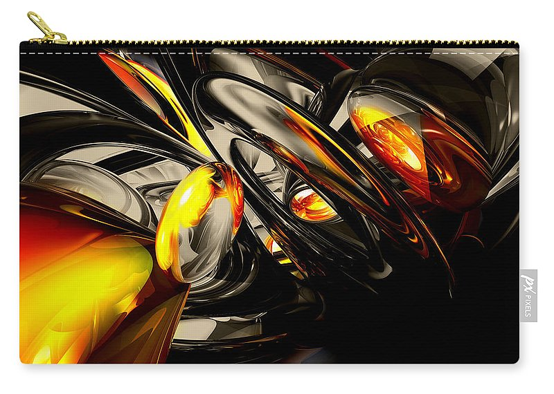 3d Carry-all Pouch featuring the digital art Liquid Chaos Abstract by Alexander Butler