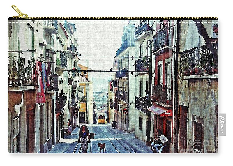 Lisboa Carry-all Pouch featuring the photograph Lisboa Tram Route by Sarah Loft