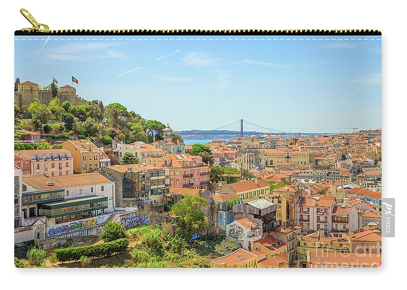 Lisbon Carry-all Pouch featuring the photograph Lisbon Aerial View by Benny Marty