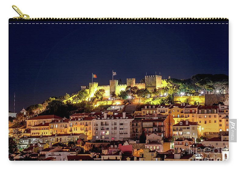 Lisbon Carry-all Pouch featuring the photograph Lisbon Night Background by Benny Marty