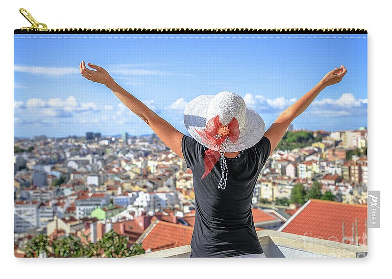 Lisbon Carry-all Pouch featuring the photograph Lisbon Panorama Enjoying by Benny Marty