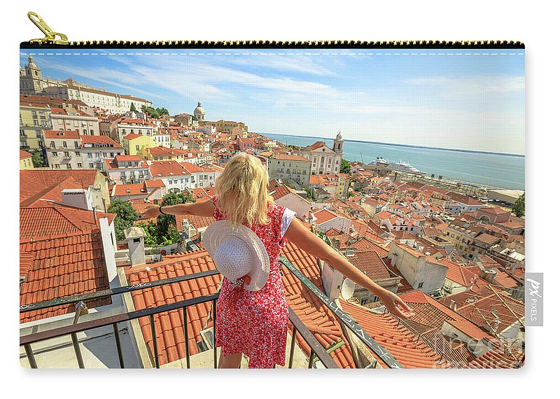 Lisbon Carry-all Pouch featuring the photograph Lisbon Tourist Viewpoint by Benny Marty